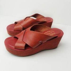 Kork Ease Red Leather Lana Wedge Slides